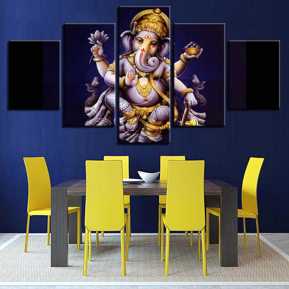 Wall Modular Picture 5 Panel Lord Ganesha Oil Painting Framework Art Poster Modern Home Decor Print On Canvas For Living Room