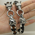 2 wolf playing with ring woven leather 316 stainless steel bracelet new