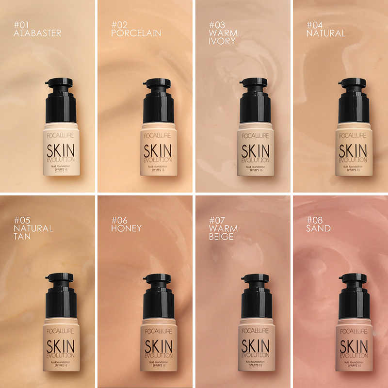 Base de FOCALLURE Base líquido Base crema cobertura completa corrector aceite-control fácil de usar Base de maquillaje facial Suave