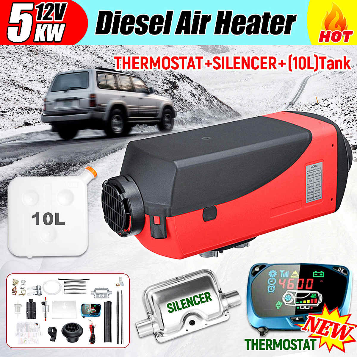 5KW Air Diesel Fuel Heater 12V Car Parking Heater Electric Heating Cooling LCD Monitor Thermostat for RV Boat 24v 150w 50x250mm silicone heater pad car fuel filter diesel heater 65 deg c with thermostat moldes de silicone electric heating