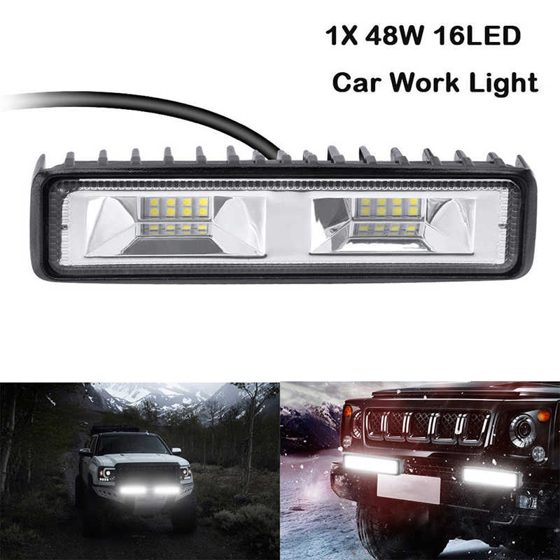 6 inch 48W 16 Work Light Bar Spot Flood Beam Bar Car LED OffRoad Driving Fog Lamps Car Styling car accessories
