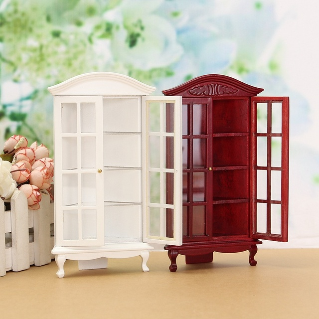 1:12 Doll House Miniature Figurines Furniture Wood White Glass Cabinet  Display Ornaments Decoration Crafts