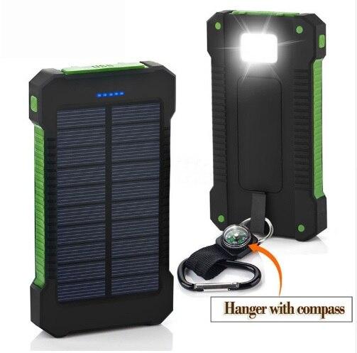Водонепроницаемый Солнечный Замена Батареи для телефонов реальные 20,000 мАч Dual USB внешний полимерный Батарея Зарядное устройство открытый б…