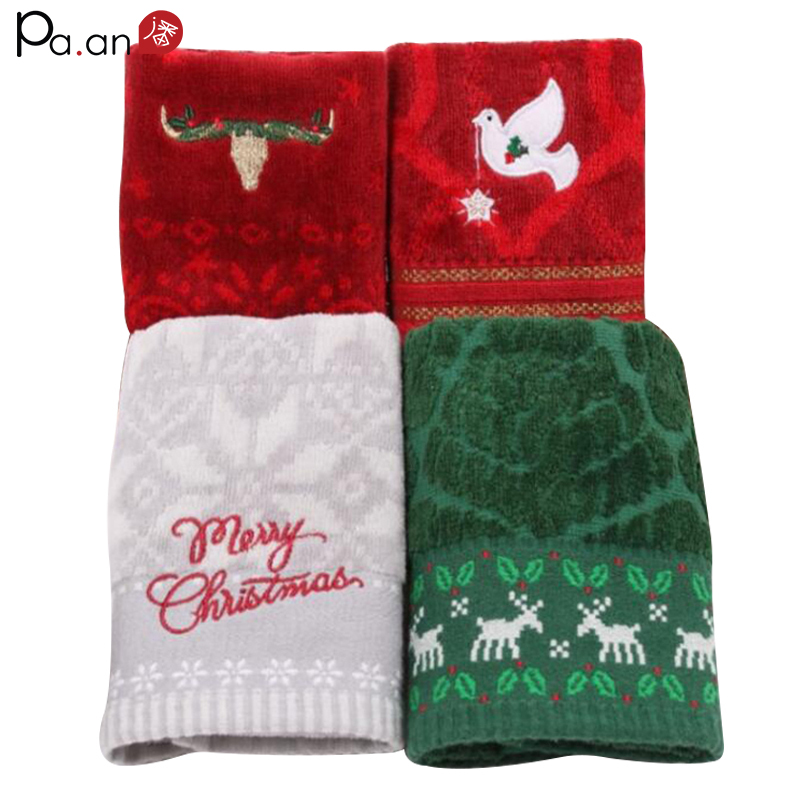 Red Towels Bathroom: Cute Christmas Supply Red Cotton Face Towel Embroidery