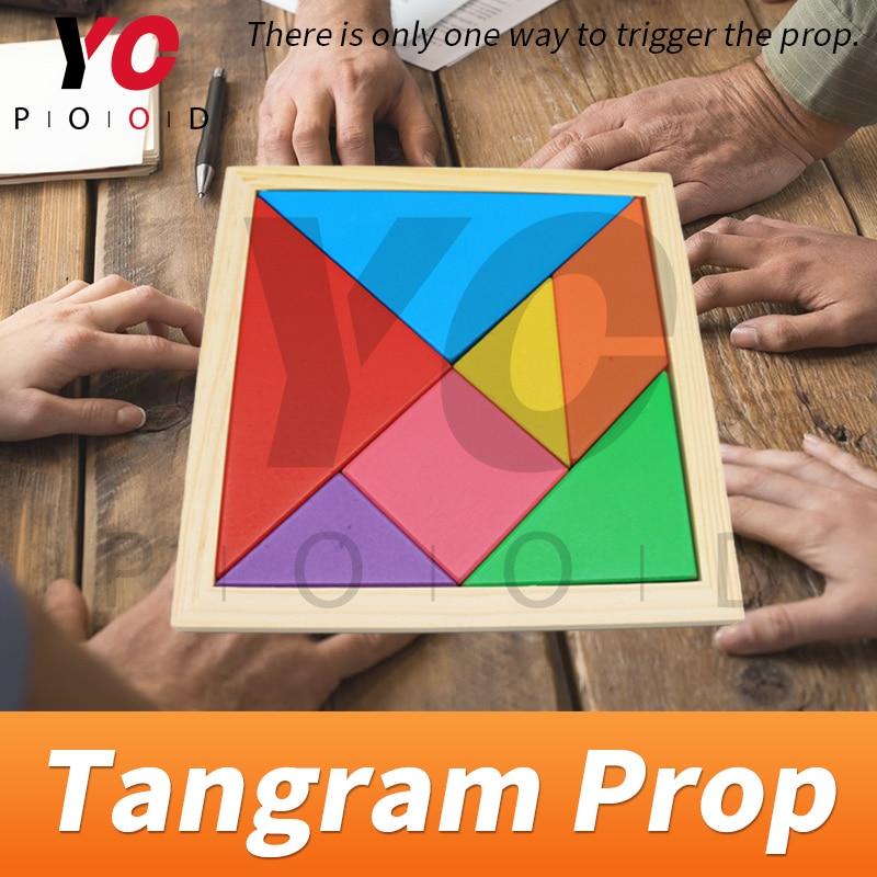 Tangram Prop YOPOOD Escape Room recueillir toutes les pièces de couleur dans la boîte en bois pour trouver des puzzles et débloquer la serrure EM - 3