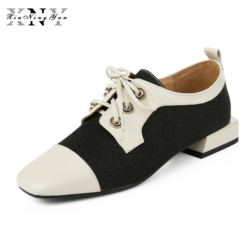 XiuNingYan Women Genuine Leather Oxford Shoes Woman Flats Handmade Vintage Lace Up Loafers Casual Sneakers Flat