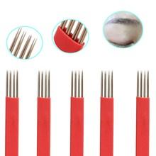 10PCS Microblading Manual Needles For Fog Eyebrow Semi Permanent Makeup Handmade Tattoo 12pins 4 Raws R3 Round Tebori Blade