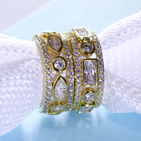2016 New 2PCS Rings Sets For Best Friend Sister 18k Gold And Platinum Plate With Cubic