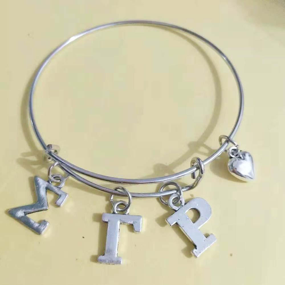 Topvekso SGR Sorority  Sigma Gamma Rho Letter Charms Love Bangle Jewelry Wire Bracelet Silver Tone As Gifts