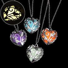 2019 Fashion Women Hollow Out Heart Crystal Rhinestone Pendant Luminous Chain Chocker Statement Necklace Jewelry For Woman stylish rhinestone heart hollow out pendant necklace for women