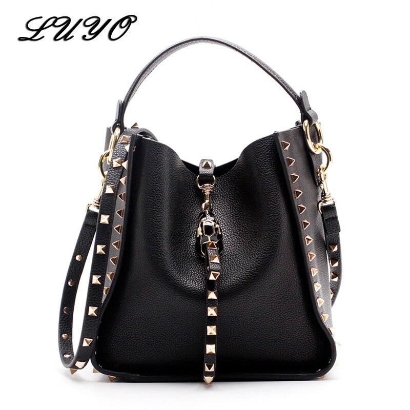 Crossbody-Bags Rivet Women Bags Messenger Designer Genuine-Leather Famous-Brand For Luxury