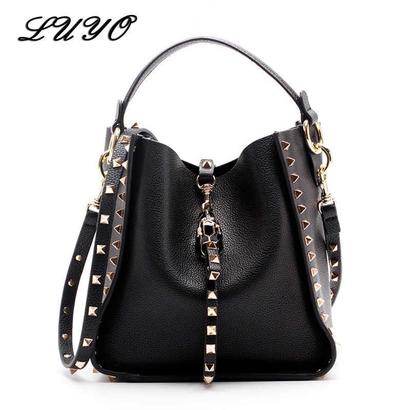 fac9d6f269f08 Genuine Leather Famous Brand Rivet Crossbody Bags For Women Messenger  Shoulder Bag Luxury Handbags Women Bags