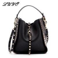Genuine Leather Famous Brand Rivet Crossbody Bags For Women Messenger Shoulder Bag Luxury Handbags Women Bags