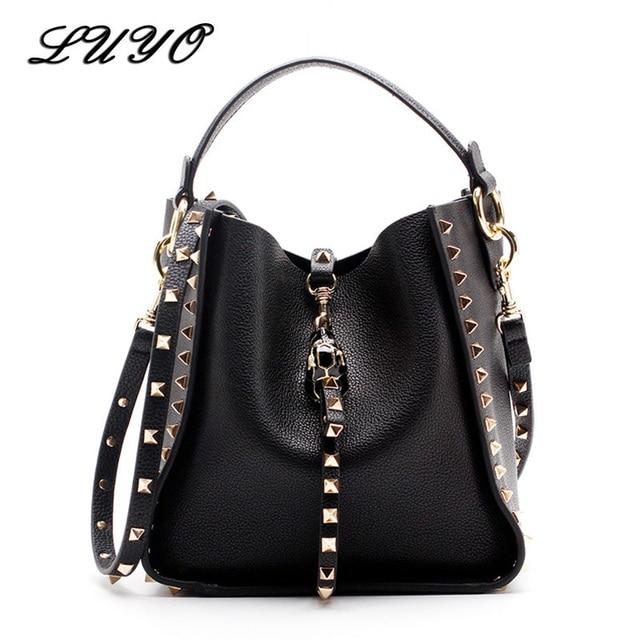 Couro genuíno famosa marca rebite crossbody sacos para mulheres mensageiro bolsa de ombro bolsas de luxo bolsas femininas designer feminino