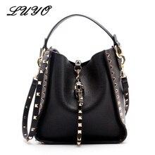 Genuine Leather Famous Brand Rivet Crossbody Bags For Women Messenger Shoulder Bag Luxury Handbags Women Bags Designer Female