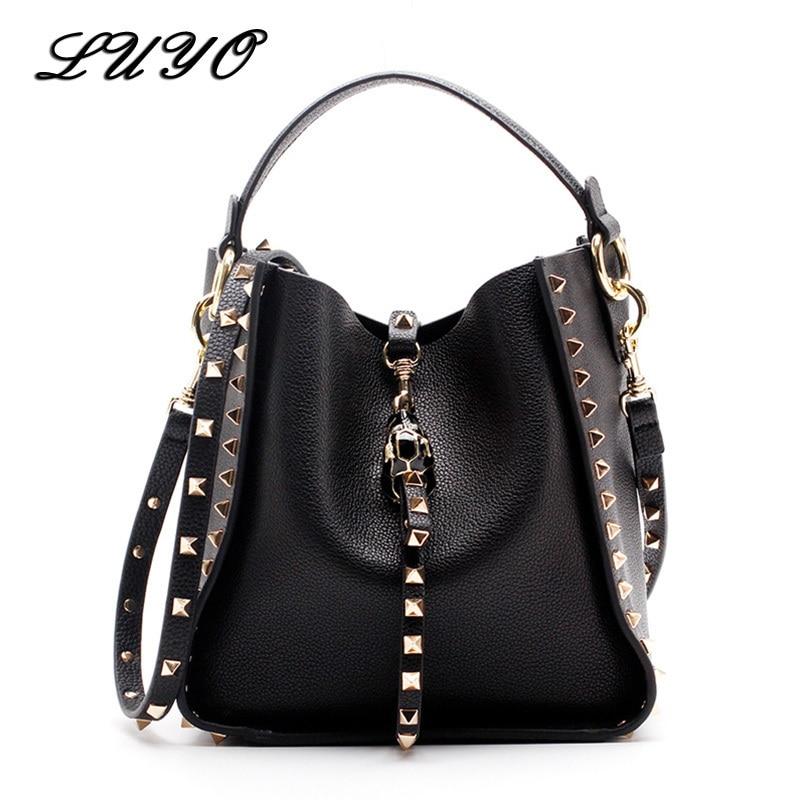 Sacs à bandoulière en cuir véritable de marque célèbre Rivet pour femmes sac à bandoulière Messenger sacs à main de luxe femmes sacs Designer femme