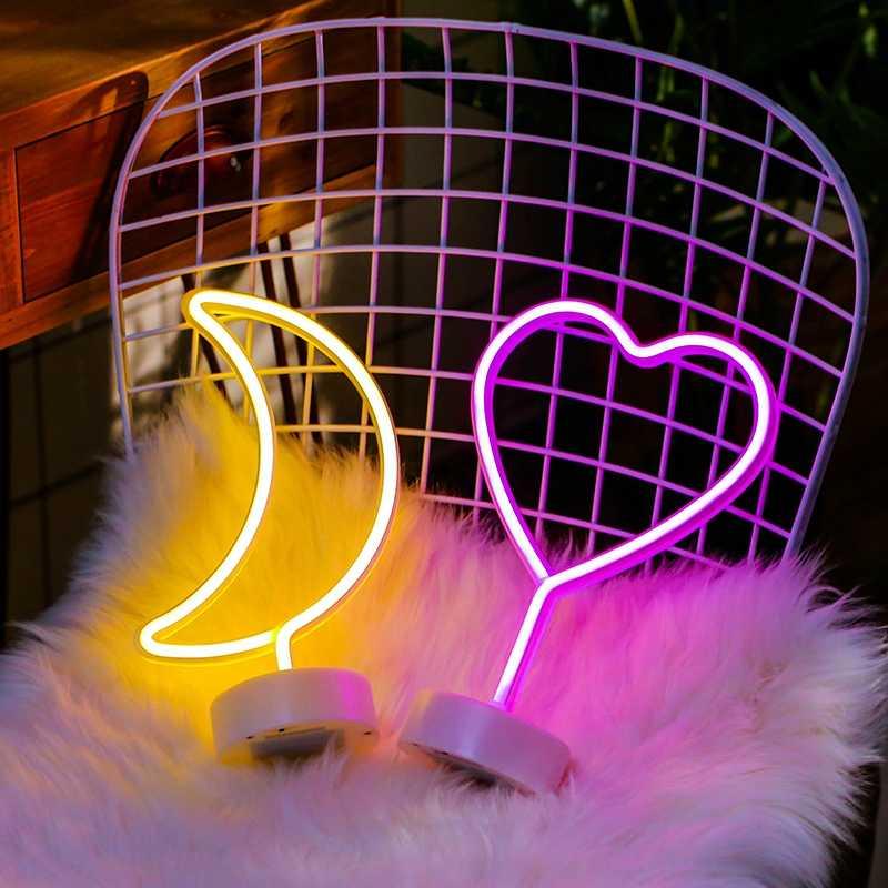 Decoración de fiesta luz de noche de neón Linda estrella de la luna Lightning Flamingo forma batería USB operado lámpara de neón para decoración de vacaciones