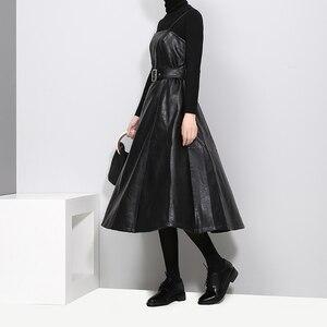 Image 4 - 2020 styl angielski kobiety Faux Leather czarny Midi Sexy bez rękawów sukienka z PU pas linii Spaghetti pasek eleganckie sukienek 3014