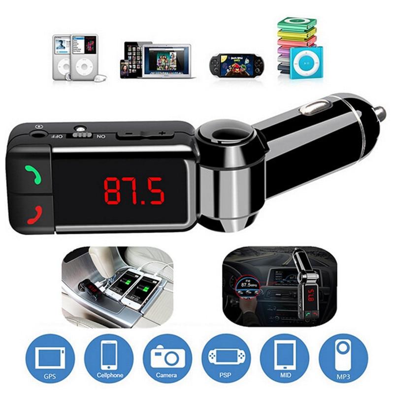 Transmisor FM Bluetooth para coche Reproductor de audio MP3 Modulador FM inalámbrico Kit para coche Pantalla LCD manos libres Cargador USB para teléfonos