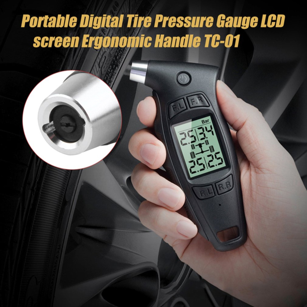 1 pc 0~ 87psi / 6bar Portable Digital Tire Pressure Gauge LCD screen Ergonomic Handle TC-01 +/- 1.5psi 0.1bar Russain Warehouse termica ah 6 300 lcd tc