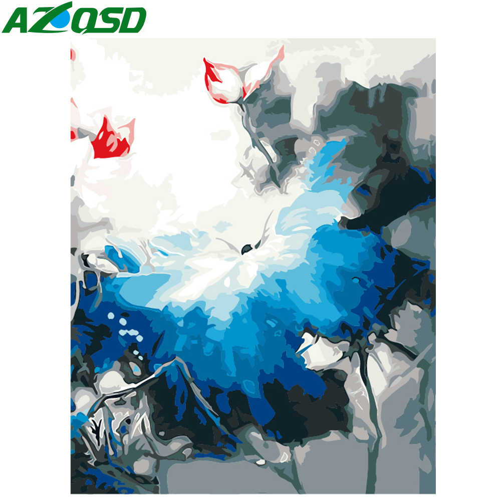 AZQSD Oil Painting Flower Painting By Numbers Ink Lotus DIY Paint Canvas Picture Hand Painted Home Decoration SZYH6260