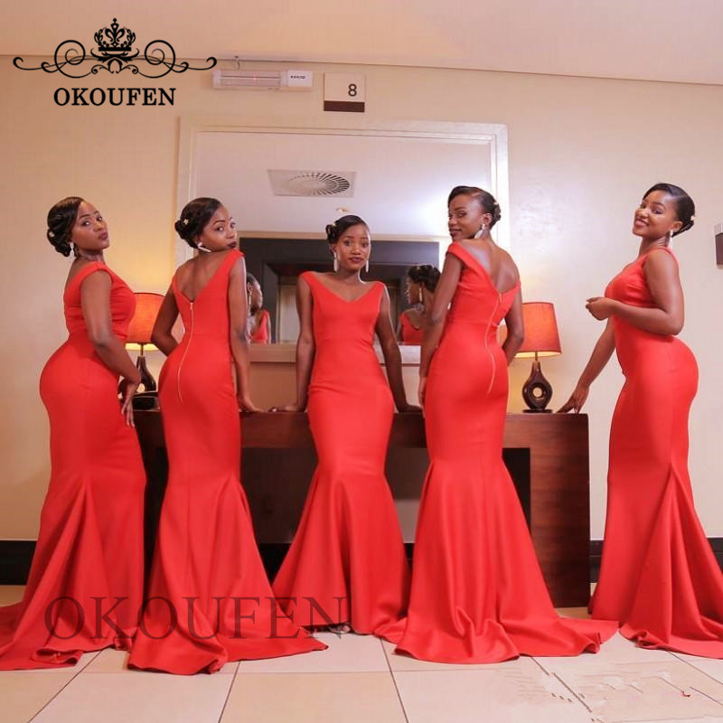 Unique Red Mermaid   Bridesmaid     Dresses   2019 Deep V Neck Backless Wholesale Price Long Party   Dress   Maid Of Honor For Women