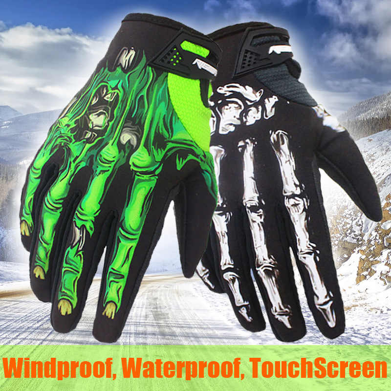 Full Finger Touch Screen Cycling Gloves Knight Flower Ghost Skeleton Skull Printed Waterproof Warm Ski Bike Gloves For Men Women