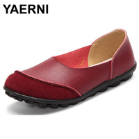 YAERNI 2017 Woman Shoes Summer Spring Genuine Leather Loafers Solid Slip On Round Toe Handmade Flats