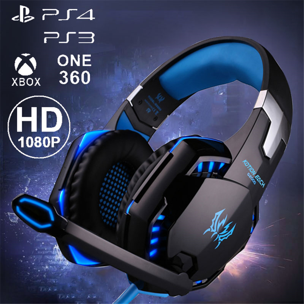 G2000 Computer Stereo Gaming Headphones Best Casque Deep Bass Game Earphone Headset With Mic LED Light For Xiaomi