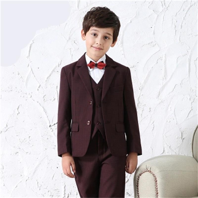 (Jackets+Vest+Pants+Tie+Shirt) Boy Suits Flower girl Slim Fit Tuxedo Brand Fashion Bridegroon Dress Wedding Red wine Suit Blazer stylish flower jacquard 8cm width wedding red tie for men