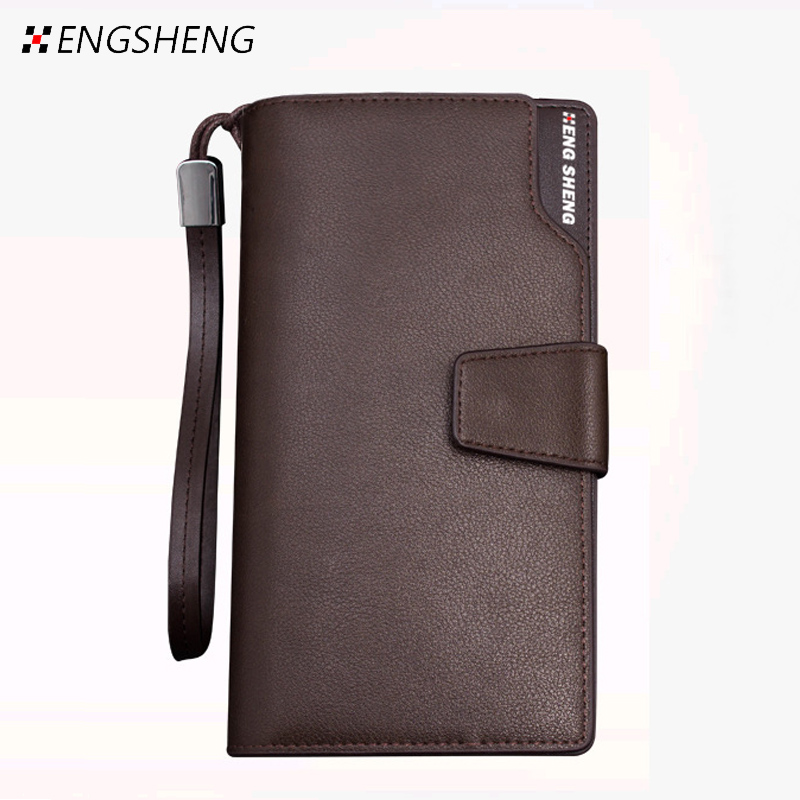 2016 New Men Cowhide Long Clutch Wallet Hot Male Business High Capacity Genuine Leather Wallets Purse Multifunction Handy Bag 2016 famous brand new men business brown black clutch wallets bags male real leather high capacity long wallet purses handy bags