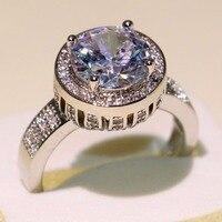 Ослепительная Корона Обручальное Кольцо круглой огранки 5A кубического циркония Pave CZ 925 пробы серебро обещание украшения палец кольцо для Д