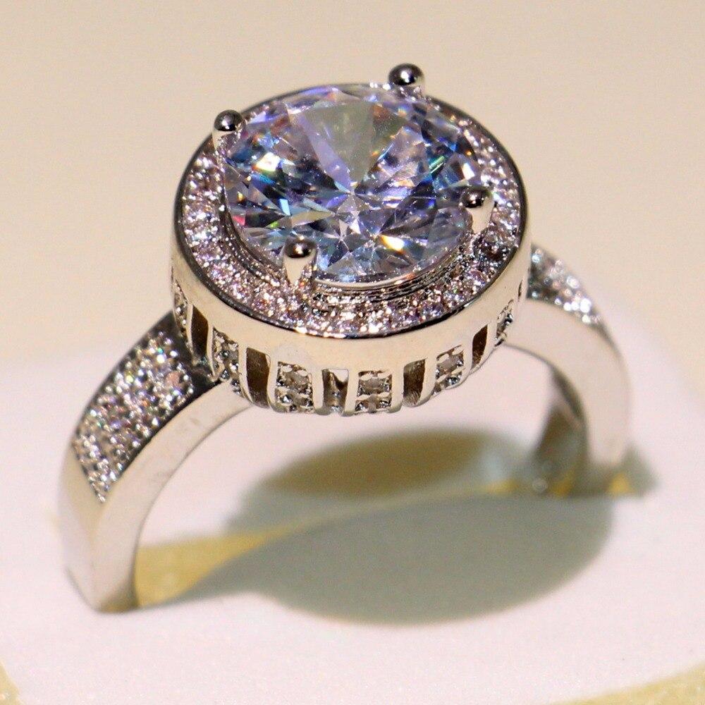 Anneau de mariage couronne éblouissante anneau rond 5A zircon cubique Pave CZ 925 argent Sterling promesse bijoux bague pour les femmes