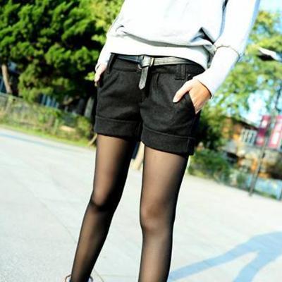 2016 de La Moda de otoño e invierno las mujeres de lana con corte tipo bota de los pantalones cortos plus large tamaño grande cortocircuitos ocasionales gris negro