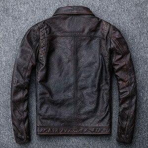 Image 5 - MAPLESTEED Vintage Rot Braun Leder Jacke Männer 100% Kuh Haut Natürliche Leder Jacken Echt Rindsleder Herren Leder Mantel Herbst M162
