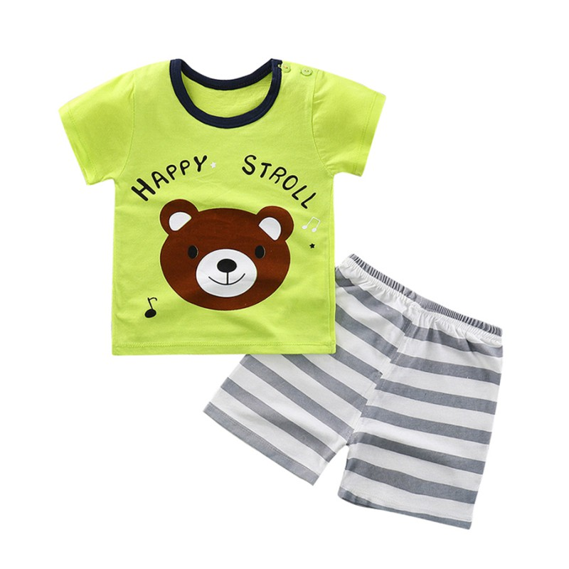 Lovely Summer Two Pieces Baby Sets With Cute Cartoon Print Comfortable For Dressing With Short Sleeves