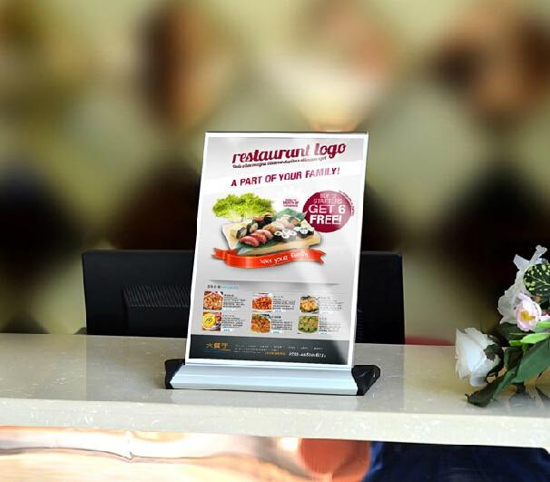 A Aluminium Alloy Acrylic Restaurant Table Desktop Label Holder - Table menu holders for restaurants