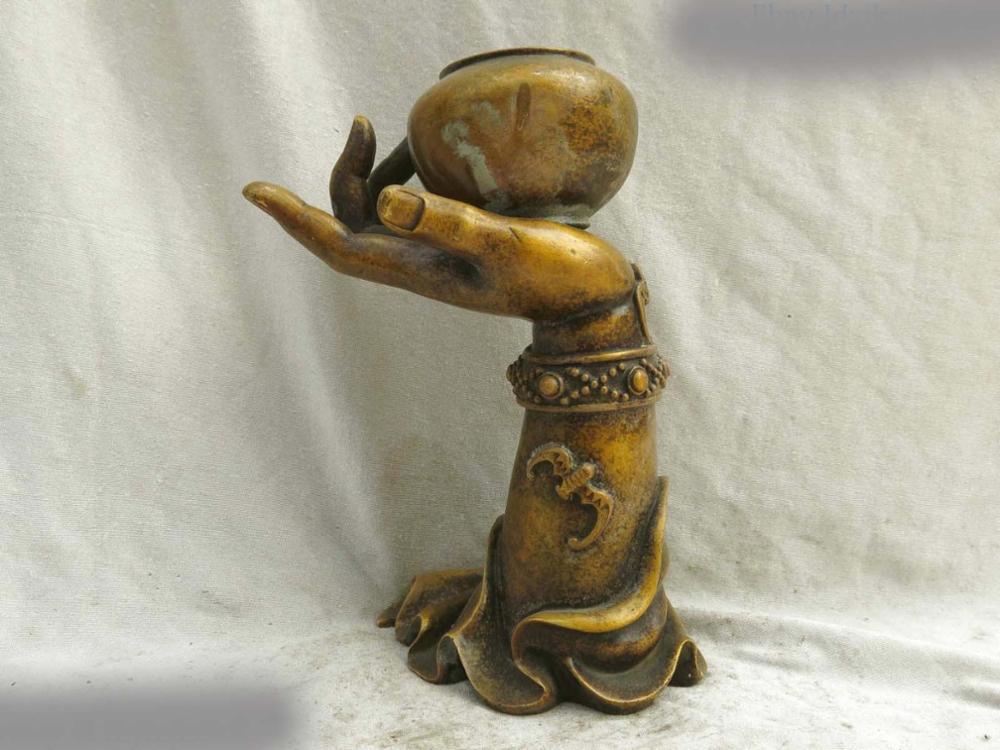 DS Fine Brass Sculpture China Kwan-yin Buddhism Guanyin Hand Pot Copper Statue