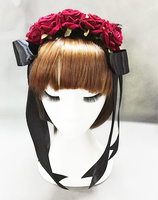Róże Goth Lolita Red Rose Flower Pałąk Rocznika Wstążka Pearl Akcesoria Do Włosów Handmade Goth