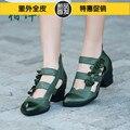 Handmade sapatos femininos tendência nacional do vintage flor genuínos sandálias de couro recorte low top sapatos casuais grossa sapatos de salto alto