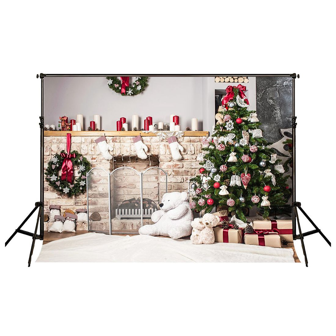 7x5ft Christmas Tree Backdrop Photography Brick Fireplace for Newborn Christmas Photo Studio Background