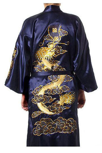 Navy Blue Traditional Chinese Men's Satin Silk Robe Embroidery Dragon Kimono Bath Gown Nightwear S M L XL XXL XXXL MR024
