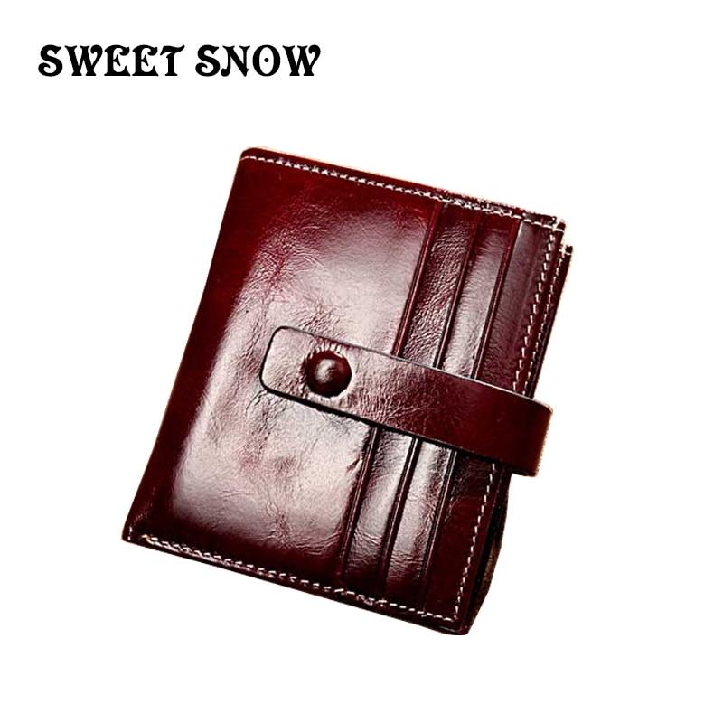 Doux neige décontracté en cuir véritable porte-monnaie dames en cuir portefeuille carte de crédit dames en cuir porte-cartes porte-carte d'affaires