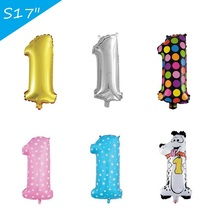17inch Mylar balloons silver golden Pink Blue Animal Number 1 balloons Heart Dot Digital Foil Balloons 1th Bithday Party Decor