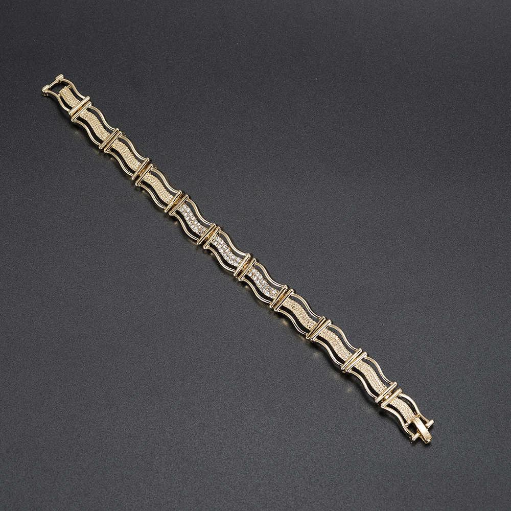MUKUN אופנה הודי תכשיטי סטי ניגרי אפריקאי חרוזים אמא של יום מתנה דובאי זהב שרשרת עגילי אבזרים סיטונאי