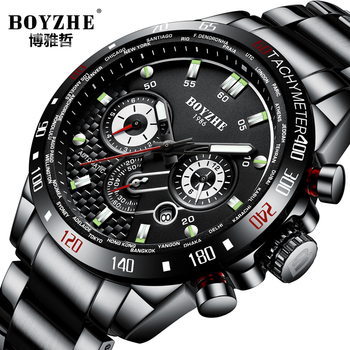 BOYZHE Multifunctional Mechanical Watch Men Luxury Brand Stainless Steel Automatic Wristwatch Sport Large Dial relogio masculino