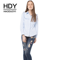 HDY Haoduoyi Brand Women Blue Cotton Causal Blouse Turn Down Collar Long Sleeve Button Casual Shirts
