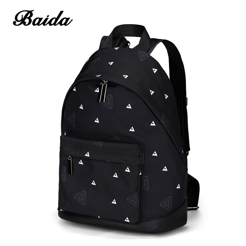 BAIDA Women Printing Backpack Fashion Triangle Pattern Ladies Backpack Female Girls Laptop Black Backpacking Bags stylish black irregular triangle pattern voile bib scarf for women