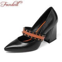 FACNDINLL High Heels Pumps Genuine Leather New Spring Summer 2018 Black Green Fashion Shoes Woman Dress