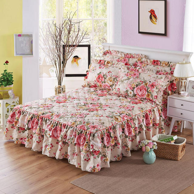 Quilted Cotton Bed Skirt Bedspread Set Mattress Cover Twin Full